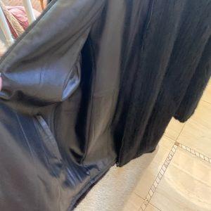 Mink/reversible creamy leather sports coat.